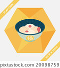 Chinese New Year tangyuan flat icon with long shadow,eps10 20098759