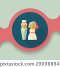 wedding couple flat icon with long shadow,eps10 20098894