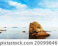 .Beautiful seascape with rocks and cloudy sky in low poly style. 20099646