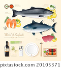 Infographic food business seafood flat lay  20105371