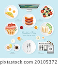 Infographic food business breakfast flat lay  20105372