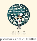 Flat Icons with chef character design infographic 20106041