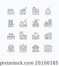 vector linear web icons set - buildings collection 20106385
