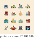 vector web flat icons set - buildings collection  20106386