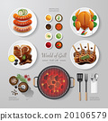 Infographic food grill,bbq,roast,steak flat lay 20106579