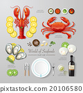 Infographic food business seafood flat lay idea. 20106580