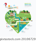 Infographic health care heart shape template  20106729