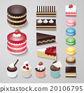 Cakes flat design dessert bakery vector set 20106795