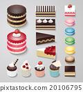 Cakes flat design dessert bakery vector set 20106795