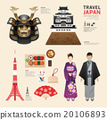 Japan Flat Icons Design Travel Concept.Vector 20106893