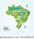 Infographic travel and landmark brazil map shape  20106936