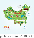 Infographic travel and landmark china map shape 20106937