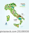 Infographic travel and landmark italy map shape  20106938