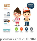 shipping infographic with people delivery service  20107061
