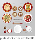 Infographic China foods business flat lay idea.  20107081