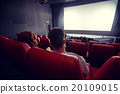 happy couple watching movie in theater or cinema 20109015