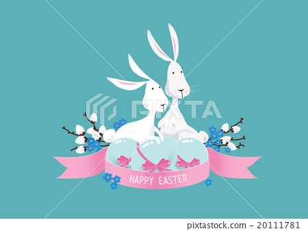 Happy colorful easter bunnies composition vector 20111781