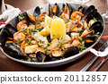 seafood paella in the fry pan 20112857