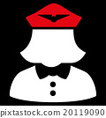 Airline Stewardess Flat Icon 20119090