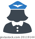 Airline Stewardess Flat Icon 20119144