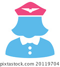 Airline Stewardess Flat Icon 20119704