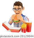 3D Young man eating a hamburger. Fast food concept 20129044