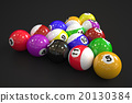 Billiard balls on black background 20130384