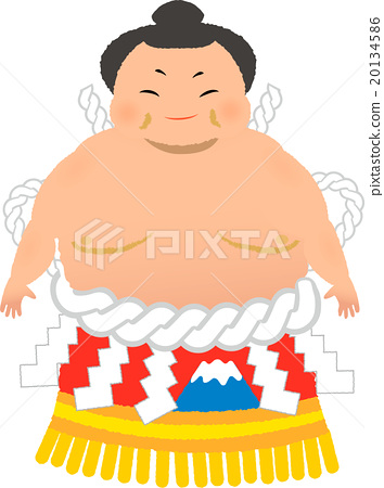 Sumo wrestler illustration with a makeup wheel 02 20134586