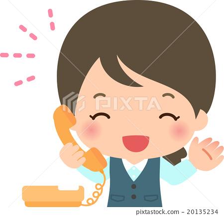 接聽電話的一名微笑的婦女 20135234