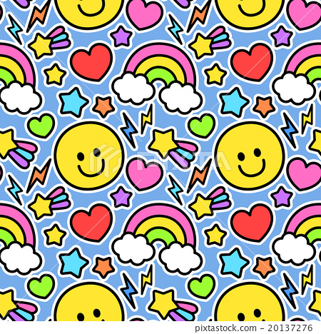 Pop and flashy cute smile · rainbow pattern seamless (connecting and repeating) pattern background material light blue 20137276
