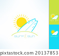 Set of vector surfing company label logo made in 20137853