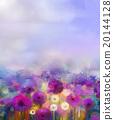 Oil painting Purple onion, white dandelion flowers 20144128