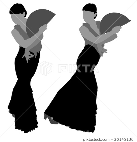 Two silhouettes of female flamenco dancer 20145136