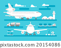 Flat design airport activity set 20154086