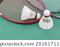 Two new badminton shuttlecock rackets on court 20161711