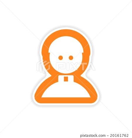 Stock Illustration: paper sticker on white background Catholic priest