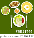 Swiss cuisine with rosti, fish and chocolate roll 20164432