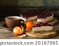 Slice of cheesecake with cherries and cup of tea 20167065