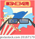 Watching 3d movie with glasses and popcorn 20167179