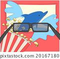 Watching 3d movie with glasses and popcorn 20167180