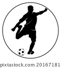 Soccer player silhouette kicking the ball 20167181