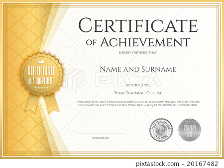 Certificate Of Achievement Template In Vector Stock Illustration