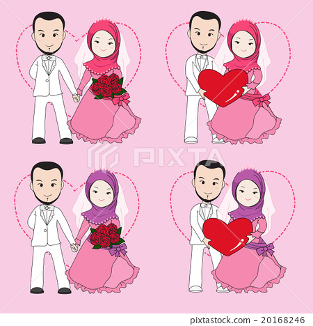 Muslim Wedding Couple Cartoon Stock Illustration 20168246 Pixta