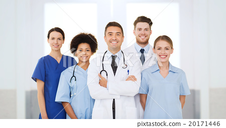 Stock Photo: group of happy doctors at hospital