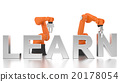Industrial robotic arms building LEARN word 20178054