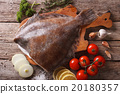 raw flounder with ingredients on a table closeup 20180357