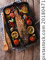 trout with vegetables on a grill pan 20180471