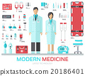 Modern medical equipment in flat design background 20186401