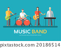 Music band in flat design background concept 20186514