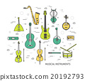 Thin line set of musical instruments modern 20192793